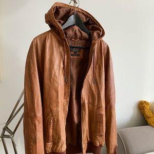 Genuine Leather Hoodie Bomber Jacket